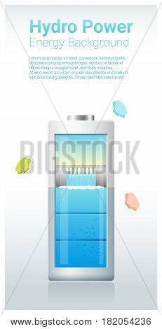 Green energy concept background with hydro energy charging battery , vector , illustration