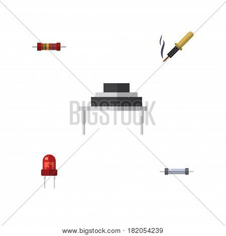 Flat Appliance Set Of Repair, Recipient, Resistance And Other Vector Objects. Also Includes Transistor, Resistance, Soldering Elements.