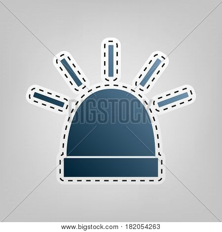 Police single sign. Vector. Blue icon with outline for cutting out at gray background.