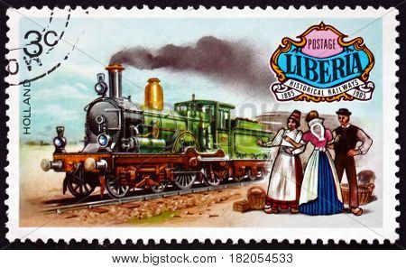LIBERIA - CIRCA 1973: a stamp printed in Liberia shows Historical Locomotive from Netherlands circa 1973