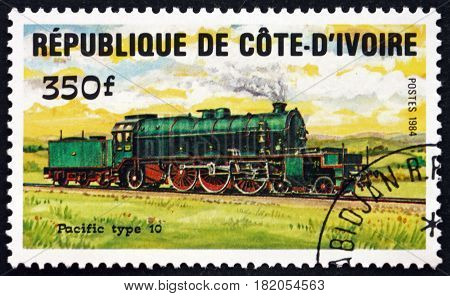 IVORY COAST - CIRCA 1984: a stamp printed in Ivory Coast shows Pacific Type 10 Locomotive circa 1984
