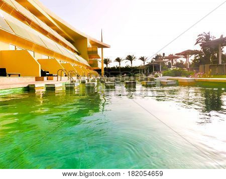 Sharm El Sheikh, Egypt - April 9 2017: The view of luxury hotel Barcelo Tiran Sharm 5 stars at day with blue sky at Sharm El Sheikh, Egypt on April 9, 2017
