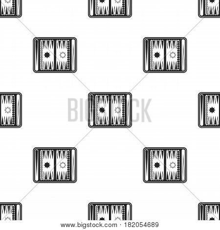 Backgammon icon in black style isolated on white background. Board games pattern vector illustration.