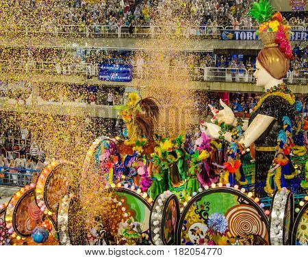 RIO DE JANEIRO - BRAZIL FEBRUARY 26, 2017: The Carnival parade is world famous for the samba dancing, fabulous costumes and magnificent floats that roll down Avenida Marques de Sapucai, also known as the Sambadrome.