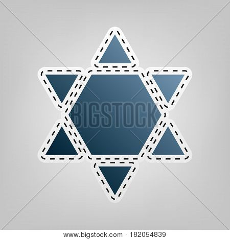 Shield Magen David Star Inverse. Symbol of Israel inverted. Vector. Blue icon with outline for cutting out at gray background.