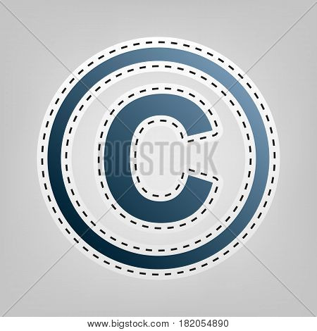 Copyright sign illustration. Vector. Blue icon with outline for cutting out at gray background.