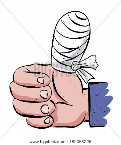 Cartoon image of injured hand. An artistic freehand picture.