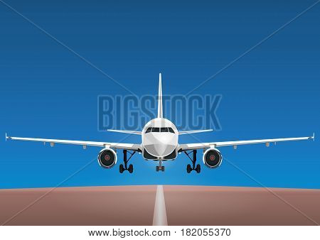Aircraft Vector, Take-off Plane Against The Background Of The Blue Sky And The Runway. Jet Commercia