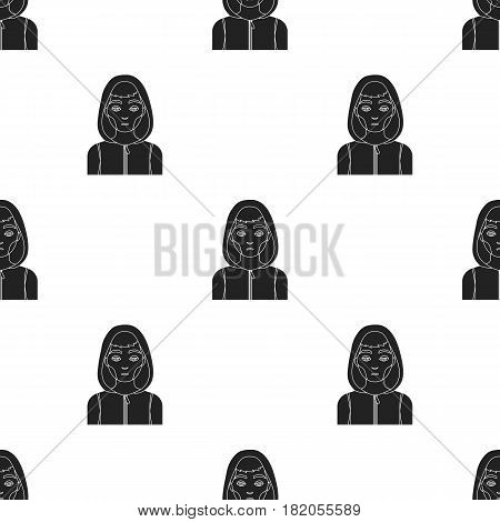 Drug addict man icon in black style isolated on white background. Drugs pattern vector illustration.