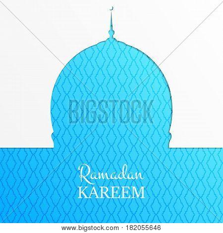 Ramadan Kareem islamic card. Arabian background with mosque, shiny stars, gold typography