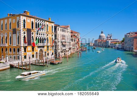 Canal Grande And Basilica Di Santa Maria Della Salute In Venice, Italy
