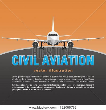 Aircraft vector. Banner, poster, flyer, card from plane on a orange sunset background and text on a gray backdrop. Jet commercial airplane in full face