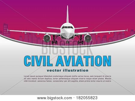 Aircraft vector. Banner, poster, flyer, card from plane on a sunset sky and city houses background and text on a gray backdrop. Jet commercial airplane in full face