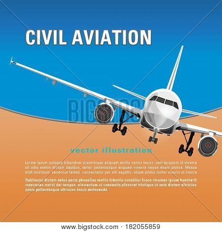 Aircraft vector background. Banner, poster, flyer, card with a flying airplane half-face against the blue sky, and text on a orange backdrop. Air travel concept flying airliner