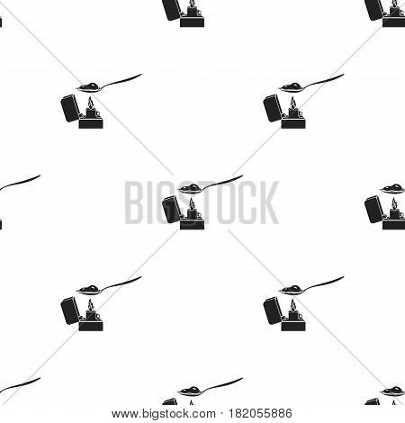 Heroin icon in black style isolated on white background. Drugs pattern vector illustration.