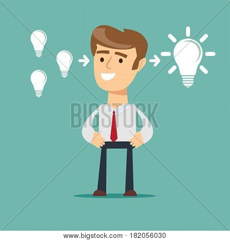 businessman stands in front of bulbs elements. cooperate concept.