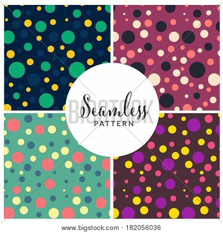 Seamless geometric pattern in different color. Seamless decorative template texture. Vector stock.