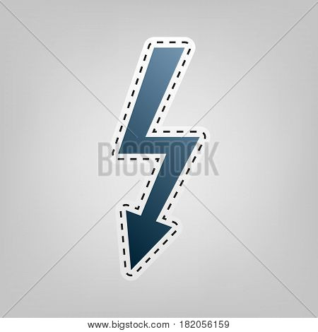 High voltage danger sign. Vector. Blue icon with outline for cutting out at gray background.