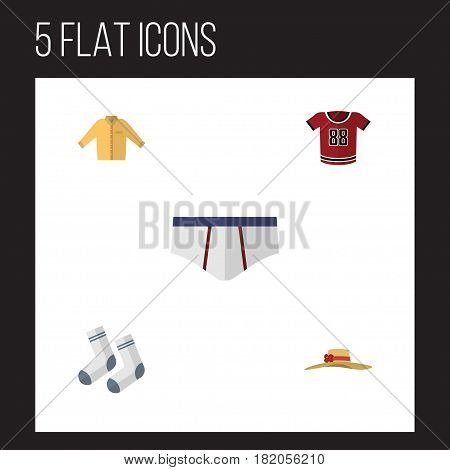 Flat Garment Set Of Underclothes, Elegant Headgear, Banyan And Other Vector Objects. Also Includes Banyan, Underwear, Woman Elements.