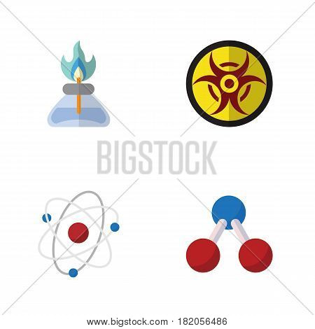 Flat Science Set Of Flame, Nuclear, Danger And Other Vector Objects. Also Includes Hazard, Flame, Danger Elements.
