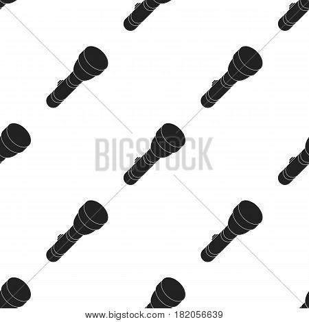 Flashlight icon in black style isolated on white background. Light source pattern vector illustration