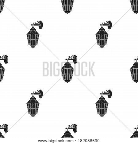 Street lantern icon in black style isolated on white background. Light source pattern vector illustration