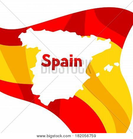 Background with flag and map of Spain. Spanish traditional symbols and objects.