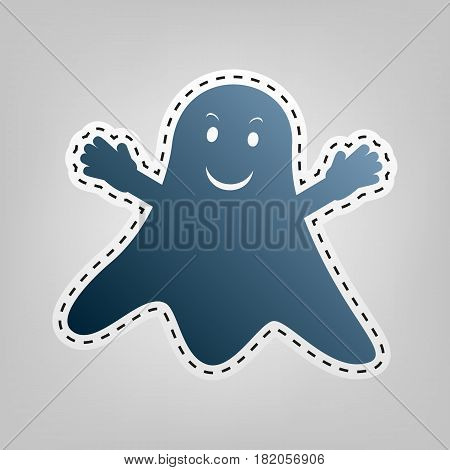 Ghost isolated sign. Vector. Blue icon with outline for cutting out at gray background.