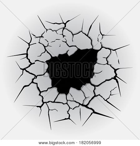 Gray background with black cracks and black hole inside