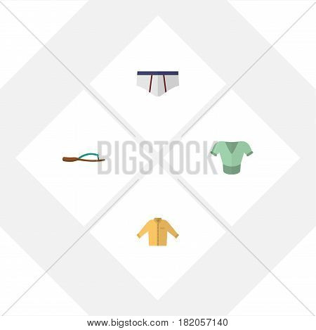 Flat Clothes Set Of Beach Sandal, Underclothes, Casual Vector Objects. Also Includes Man, Flip, Underwear Elements.