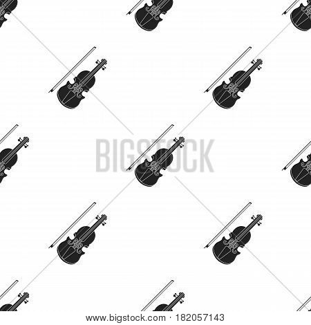Violin icon in black style isolated on white background. Musical instruments pattern vector illustration
