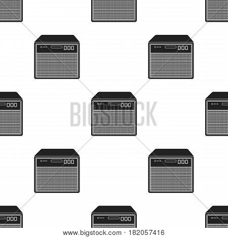 Guitar amplifier icon in black style isolated on white background. Musical instruments pattern vector illustration