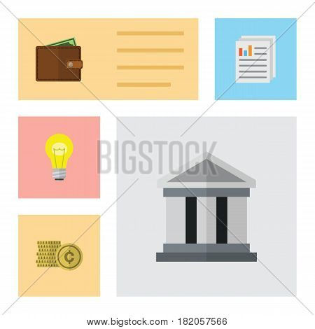 Flat Exchequer Set Of Cash, Billfold, Document And Other Vector Objects. Also Includes Pocketbook, Cash, Architecture Elements.