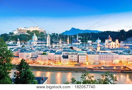 Panoramic View Of Salzburg Skyline With River Salzach At Dusk As Seen From Kapuzinerberg In Salzburg