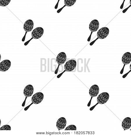 Maracas icon in black style isolated on white background. Musical instruments pattern vector illustration