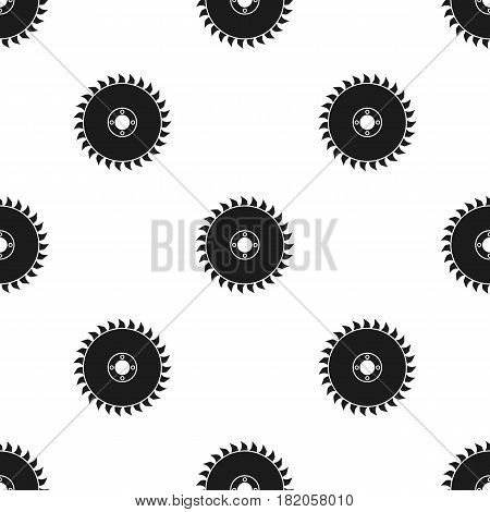 Saw disc icon in black style isolated on white background. Sawmill and timber pattern vector illustration.