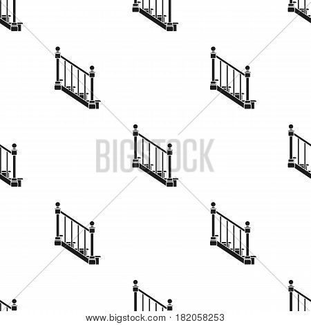 Stairs icon in black style isolated on white background. Sawmill and timber pattern vector illustration.