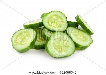 The cut cucumber isolated on a white background