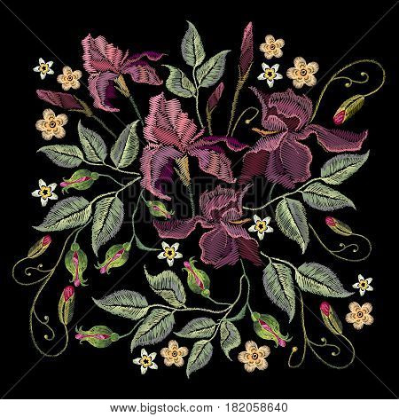 Beautiful spring purple irises against black background embroidery template. Embroidery irises