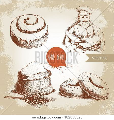 Hand drawn set bakery illustrations. Baker with baker basket of fresh bread sesame bagels iced sweet cinnamon bun and sack with whole flour with wheat bunch.
