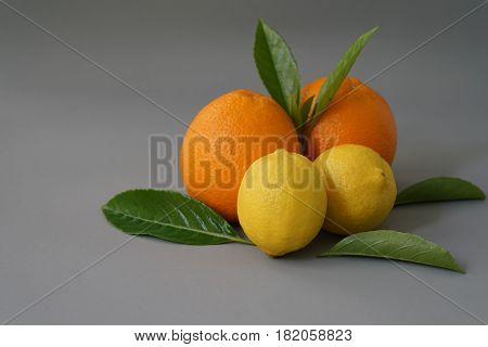Organic orange on the gray background - Isolate