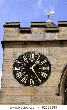 York Yorkshire England UK - May 22 2016 : The historical Church clock on Saint Michael's church in York