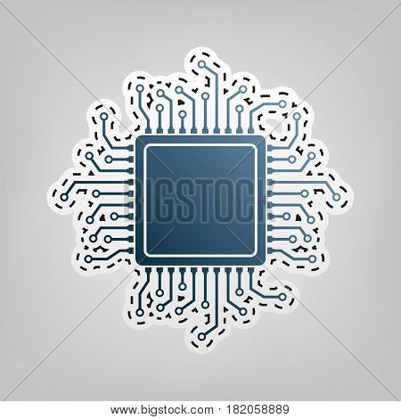 CPU Microprocessor illustration. Vector. Blue icon with outline for cutting out at gray background.