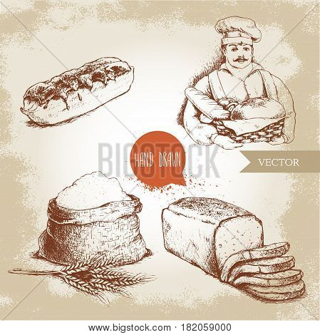 Hand drawn set bakery illustrations. Baker with baker basket of fresh bread sliced bread loaf sweet french cake eclair and sack with whole flour with wheat bunch.