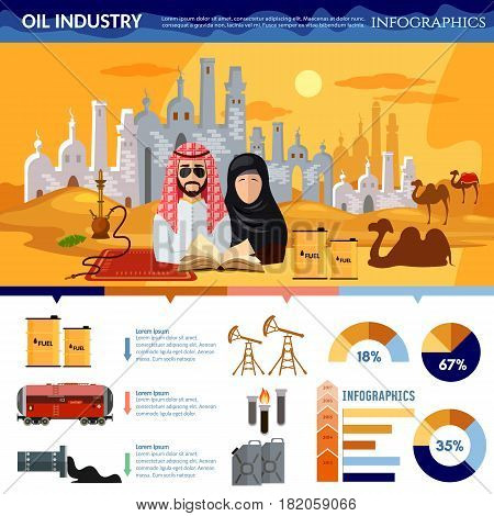 Oil production in Arab countries infographics arab men exploration and production of oil sheiks in desert template design