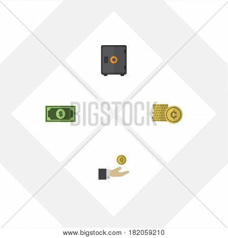 Flat Incoming Set Of Strongbox, Cash, Hand With Coin Vector Objects. Also Includes Hand, Bank, Money Elements.