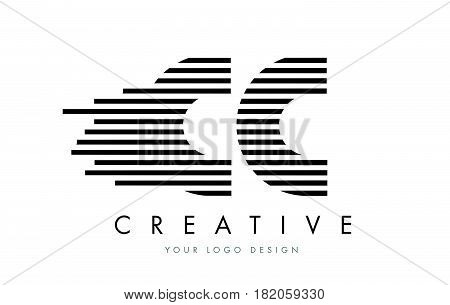 Cc C C Zebra Letter Logo Design With Black And White Stripes