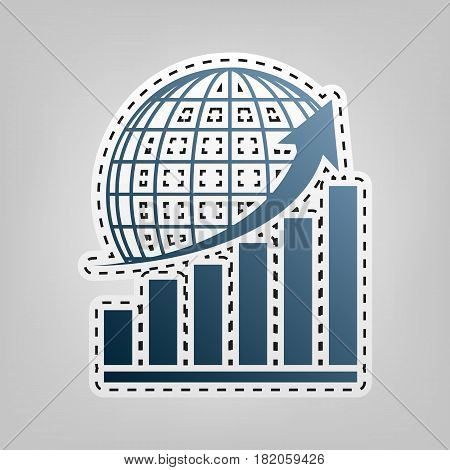 Growing graph with earth. Vector. Blue icon with outline for cutting out at gray background.