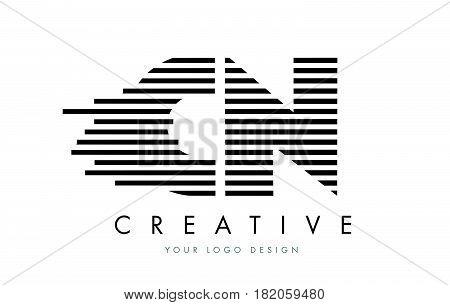 Cn C N Zebra Letter Logo Design With Black And White Stripes