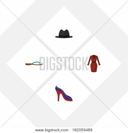 Flat Garment Set Of Heeled Shoe, Panama, Clothes And Other Vector Objects. Also Includes Garment, Shoes, Hat Elements.